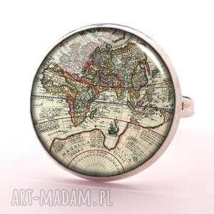 mapa świata - pierścionek regulowany, elegancki