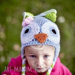 czapka sówka, czapka, wiosna, prezent, włóczka, głowa, ciepły dla dziecka
