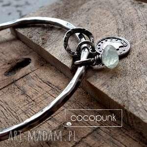 srebro frenit - bransoleta z zawieszkami - zielone, srebro oksydowane, prezent