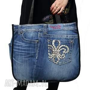 na ramię duża torba upcykling jeans 73 od majunto, upcykling, recykling