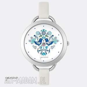 zegarek, bransoletka - folkowe ptaszki, niebieskie