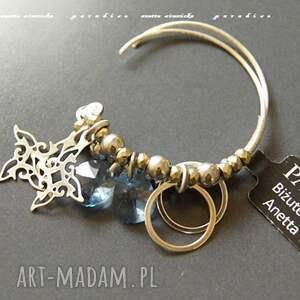 Srebro kolczyki, lazurowe kryształy anetta zimnicka swarovski