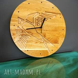 zegar ścienny z drewna dębowego,frez, ptak,natura, ścienny, ptak, prezent