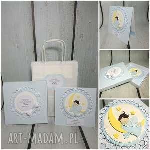 zestaw cudny aniołek na księżycu w wersji blue - chrzest, komunia, narodziny