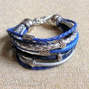 Bransoleta kobalt w srebrze, orient, stylowa