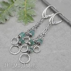 kolczyki wiszące z błękitnym szkłem antycznym 120, srebro, szkło antyczne