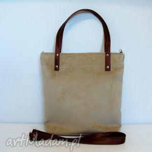 Shopper bag, brązowa, karmelowa, torba, wygodna, szyta