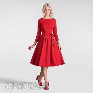 sukienka marie 3/4 midi czerwień, czerwona sukienka, midi