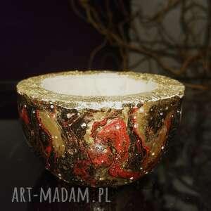 hand-made dekoracje czarno-czerwona miseczka z betonu, świecznik na tealight, pojemnik