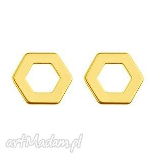 hand-made kolczyki złote kolczyki sześciokąty
