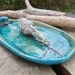 ręcznie robione ceramika ceramiczna patera, liść (c293)