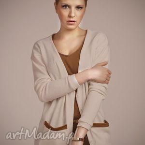 hand-made swetry sweter ze skórzanymi wstawkami swe 016 - ecru
