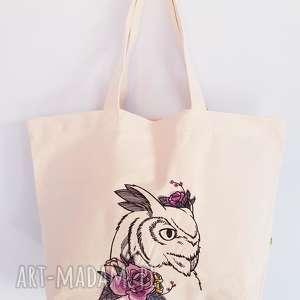 wyjątkowy prezent, eko torba zakupowa, eko, torba, shopperka, sowa, haft na