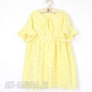 Sukienka z haftowanej bawełny z wiązaniem , hafty, letnia, falbanki,