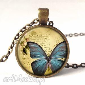 Artystyczny motyl - medalion z łańcuszkiem, motyl, retro, artystyczny, sztuka