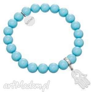 niebieska bransoletka perły turquise swarovski hamsa ręka, modowa