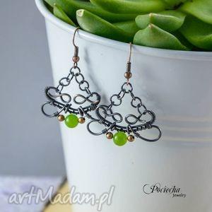 lime - kolczyki z jadeitem, kolczyki, jadeit, zieleń, miedź, pociecha, prezent