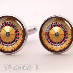 ruletka - spinki do mankietów - biżuteria, hazard, kasyno