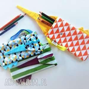 piórnik dino - niebiesko-żółte trójkąty/turkus, piórnik, etui, saszetka