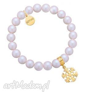 perłowa bransoletka z opalizujących pereł swarovski crystal ze złotą śnieżynką