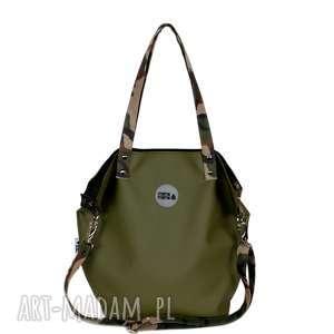 na ramię torebka damska worek w kolorze ciemnej oliwki, damska