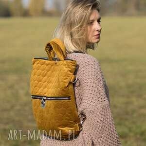 torba / plecak 2 w 1 miodowy pikowany welur tapicerski, pikowany