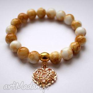 bransoleta tiger stones openwork heart, kamienie, marmurkowe, serce, ażurowe