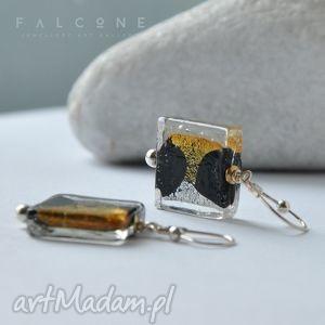 Srebrno-Złote, kolczyki, srebro, klasyczne, szkło, weneckie, eleganckie