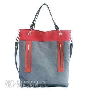 Szaro czerwona z zamkami, torebka, duża, alkantara, skóra, praktyczna, lekka