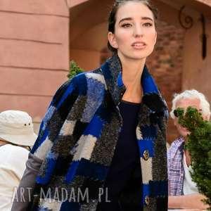 płaszcze płaszcz wełniany lana capotto blu, zapinany, wełniany, jesienny, krata