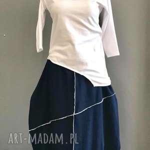 White & Navy blue-komplet, boho, folk, minimalistyczny, zestaw, komplet,