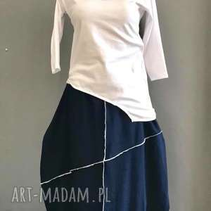 sukienki white navy blue-komplet, boho, folk, minmalistyczny, zestaw, komplet