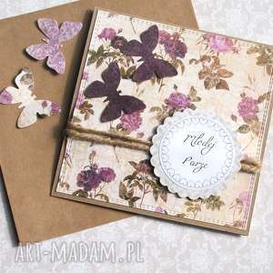 kartka ślubna handmade rustic new, ślub, motyle