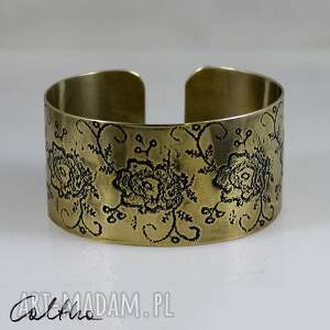 *Kwiaty - mosiężna bransoletka, bransoleta, kwiaty, mosiężna, złota,