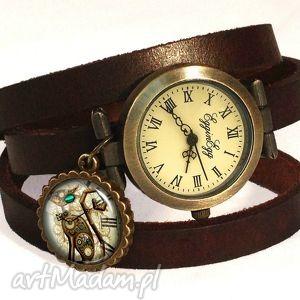 handmade zegarki steampunkowy kot - zegarek / bransoletka na skórzanym pasku