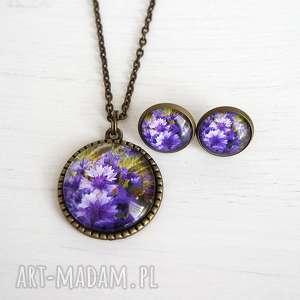Naszyjnik i kolczyki - komplet fioletowe chabry liliarts komplet