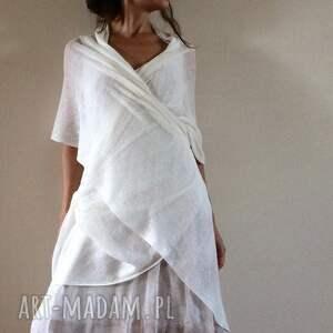 hand made szaliki elegancki lniany dzianinowy szal w jasnym kremie