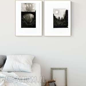 dom zestaw 2 grafik 30x40 cm wykonanych ręcznie, abstrakcja, elegancki minimalizm