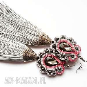Długie kolczyki sutasz z chwostami i hematytem w różu szarości, sutasz, chwosty