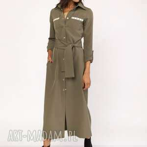 lanti urban fashion długa sukienka w stylu militarnym, suk157 khaki
