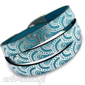 bransoletka skórzana joyee triple waves turquoise, skóra, wzorzysta, oplataniec