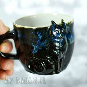 handmade ceramiczny kubek z kotem - czarny 350 ml, ceramika na prezent