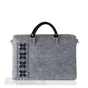 handmade torebki torba filcowa romby czarne