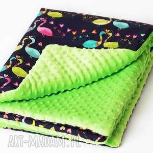 Kocyk Pawie / Zielony, niemowlę, wózek, łóżeczko,