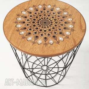 stolik kawowy druciany, mały, ręcznie malowana mandala, - stolik nocny, druciany