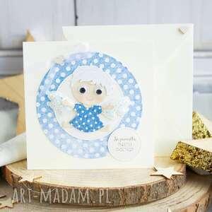 kartki kartka z uroczym aniołkiem stróżem personalizacja treści narodziny
