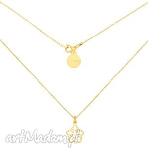 złoty naszyjnik z ażurową gwiazdką, modny, święta, gwiazdka, srebro, pozłacane