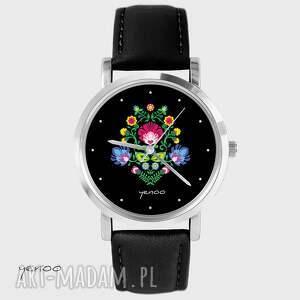 Prezent Zegarek, bransoletka - Folkowy czarny czarny, skórzany, zegarek, folkowy