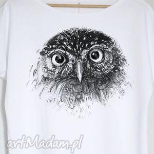 SOWA bluzka bawełniana oversize L/XL biała, bluzka, koszulka, sowa, pójdźka, nadruk
