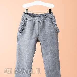 spodnie dsp11m, modne, stylowe, dziewczęce, falbanka, spodnie, eleganckie